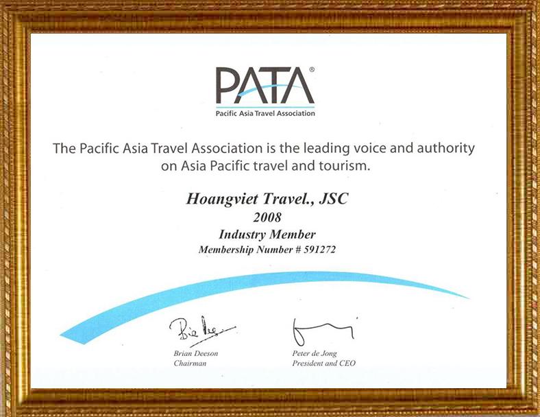 Chứng nhận đủ tiêu chuẩn là Hội viên chính thức của Hiệp Hội Du lịch Châu Á - Thái Bình Dương Trung ương PATA( 2008)